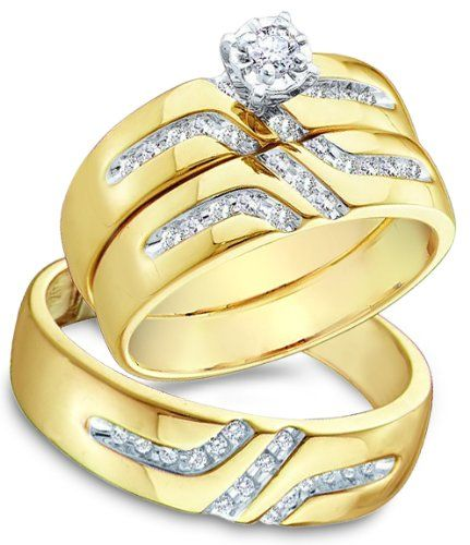 76% Off was $2,664.00, now is $627.00! 14k White and Yellow 2 Two Tone Gold Mens and Ladies Couple His & Hers Trio 3 Three Ring Bridal Matching Engagement...