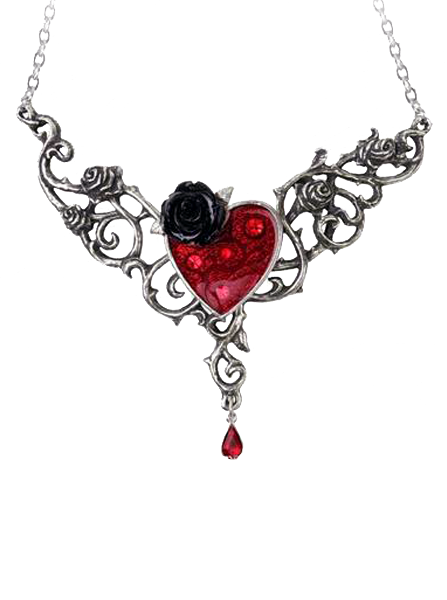 u0026quot blood rose heart u0026quot  necklace by alchemy of england just ordered this for my dress    they match