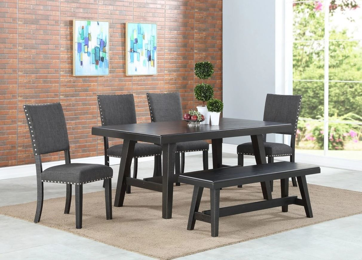 Eclipse Furnishings 6pc Cloverdale Collection Black Dining Set
