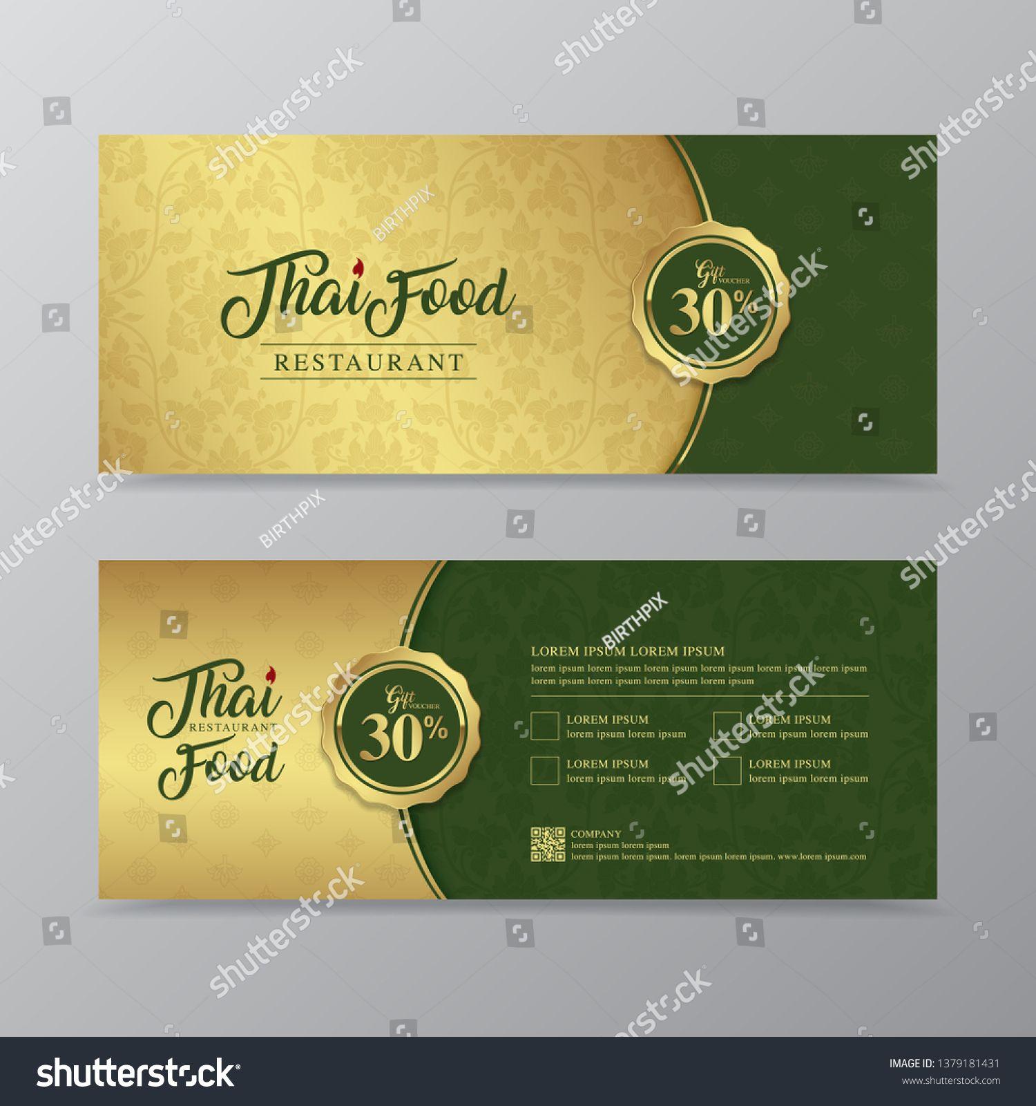 Thai Food And Thai Restaurant Luxury Gift Voucher Design Template For Printing Flyers Poster Web Bann Gift Voucher Design Thai Recipes Thai Food Restaurant