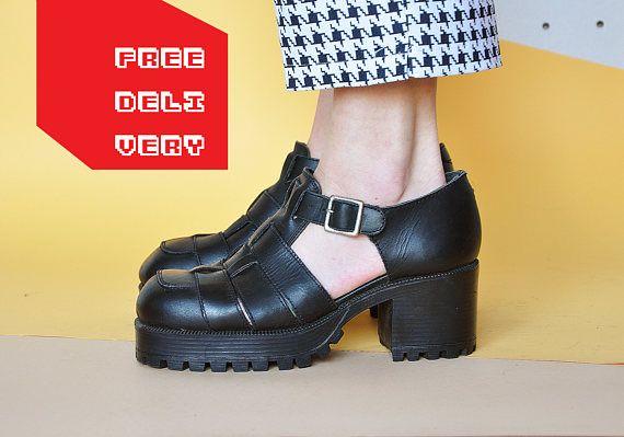 90s PLATFORM sandals CLUB KID sandals chunky sandals rave sandals grunge  sandals strappy sandals leather sandals Size 9.5 us / 7 uk / 41 eu