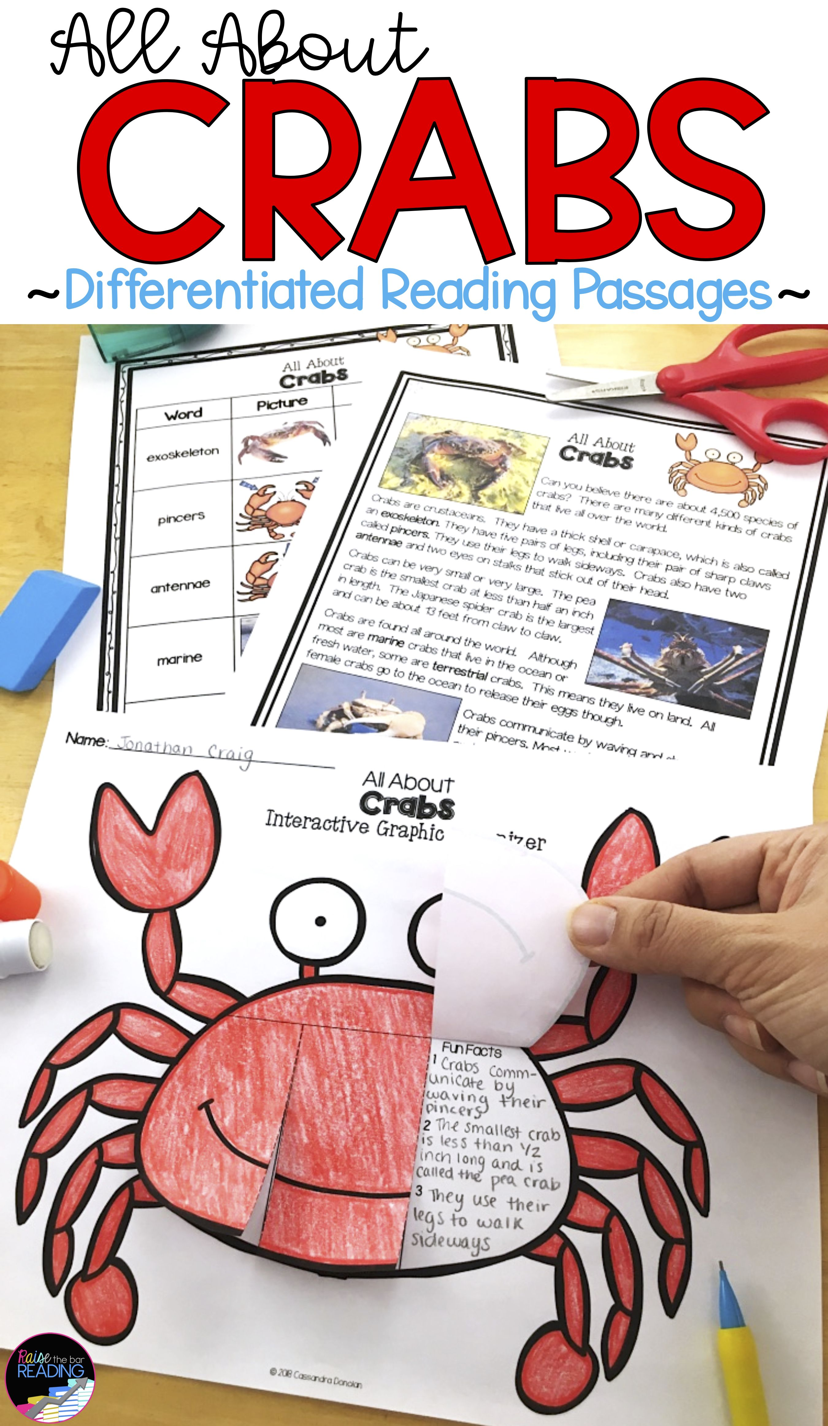 Ocean Animals Reading Crabs Differentiated Reading