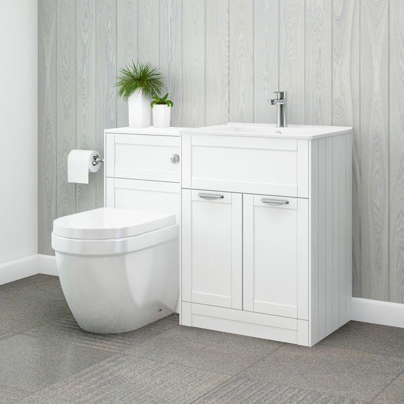 Nottingham 600 White Combination Unit with Aurora Back to Wall ...