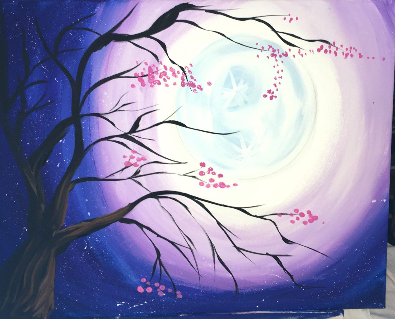 How To Paint A Cherry Blossom Tree With Moon Step By Step Painting Cherry Blossom Painting Acrylic Cherry Blossom Painting Cherry Blossom Art