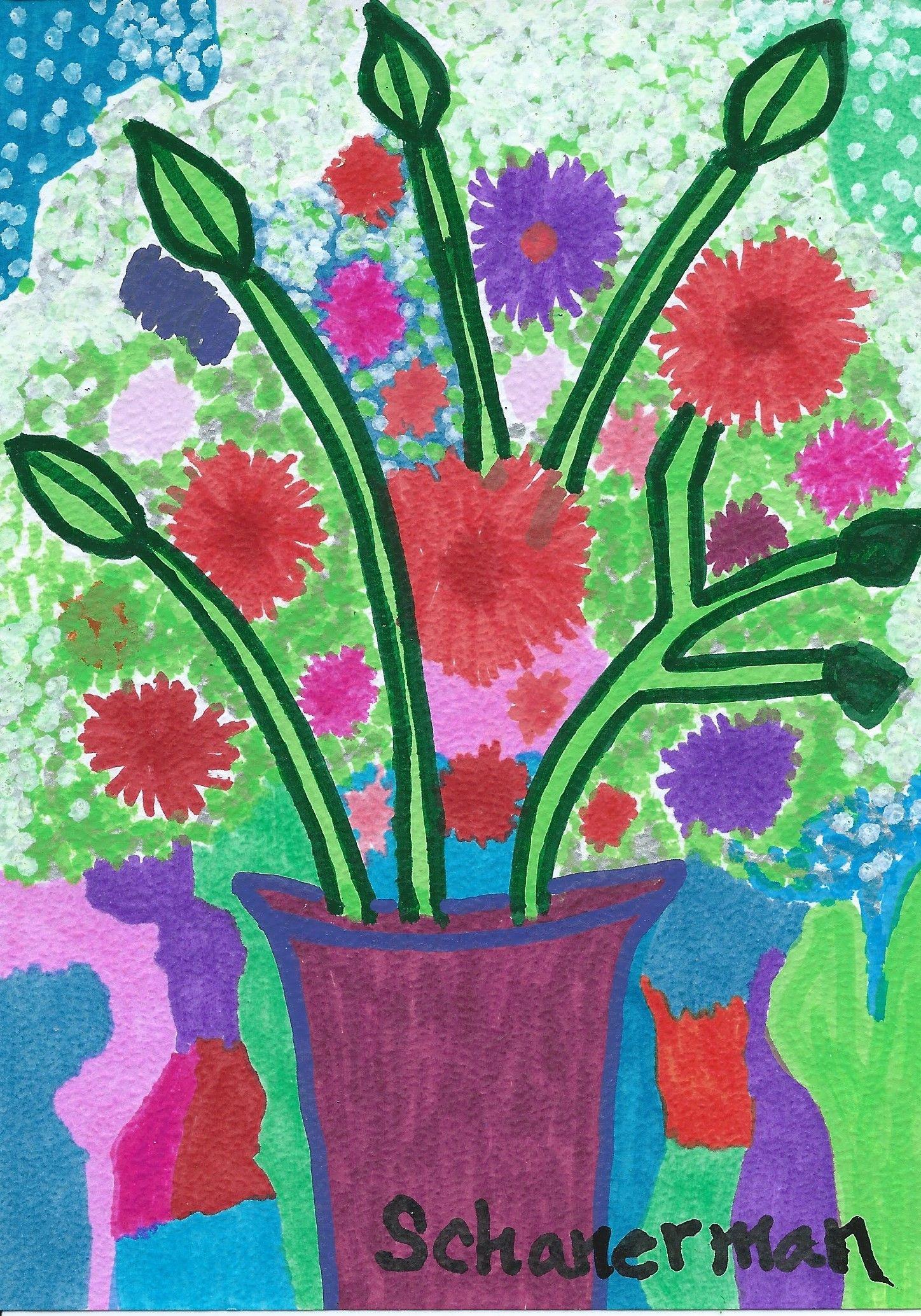 """""""Floral Fantasy"""" - - - 5"""" x 7"""" Original heARTwork by Susan Schanerman"""