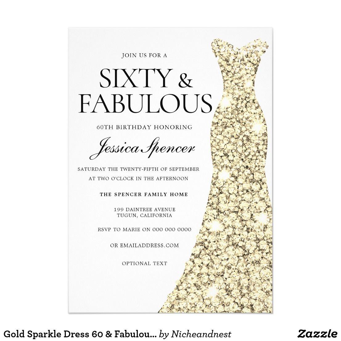Gold Sparkle Dress 60 & Fabulous 60th Birthday Invitation | { Happy ...