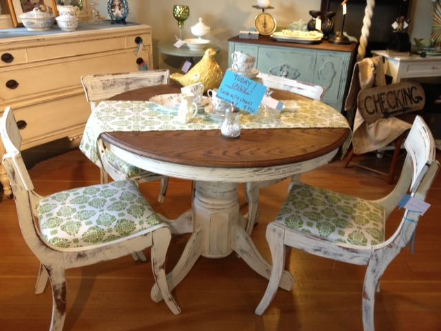 Distressed White Oak Dining Chairs: 80's Oak Table, Top Restained A Dark Walnut, Body Painted