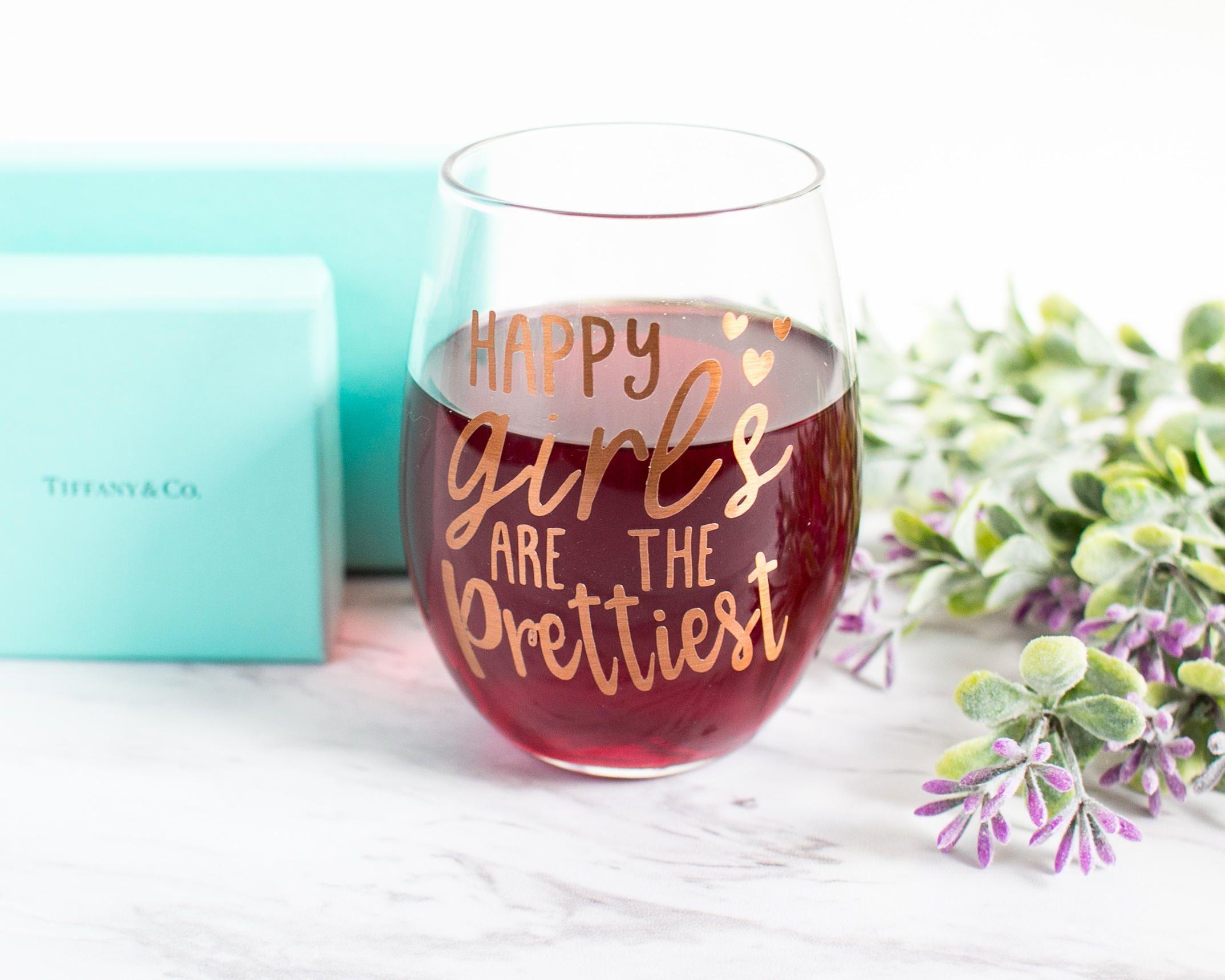 Happy Girls Are The Prettiest Audrey Hepburn Quote Pretty 15oz Wine Glass Cute Glass Drinkware Gifts Glass Gifts Personalized Wine Glass Girl Boss Gift