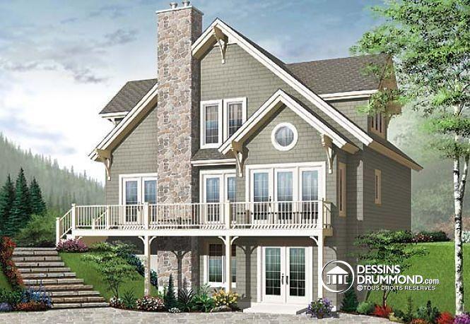 W2957-V1 - Grande terrasse, espace ouvert, foyer, style chalet de