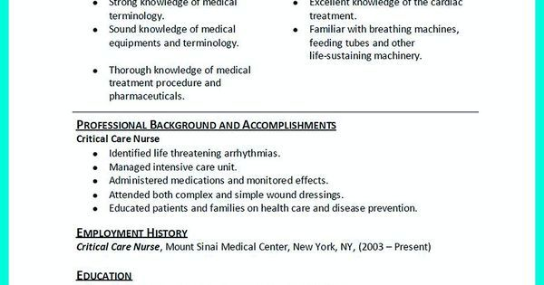 High Quality Critical Care Nurse Resume Samples Vina Share Pinterest