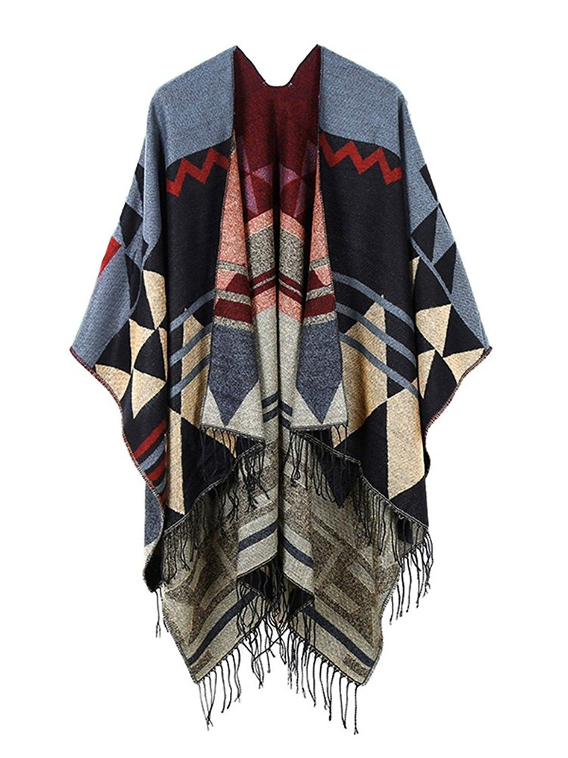 24cb8f258 Women's Print Wool Pashmina Shawl Blanket Cape Poncho Sweater - Wine Red  (Fast Ship) - CQ12MMWO3I5 - Scarves & Wraps, Cold Weather Scarves & Wraps  #SCARVES ...
