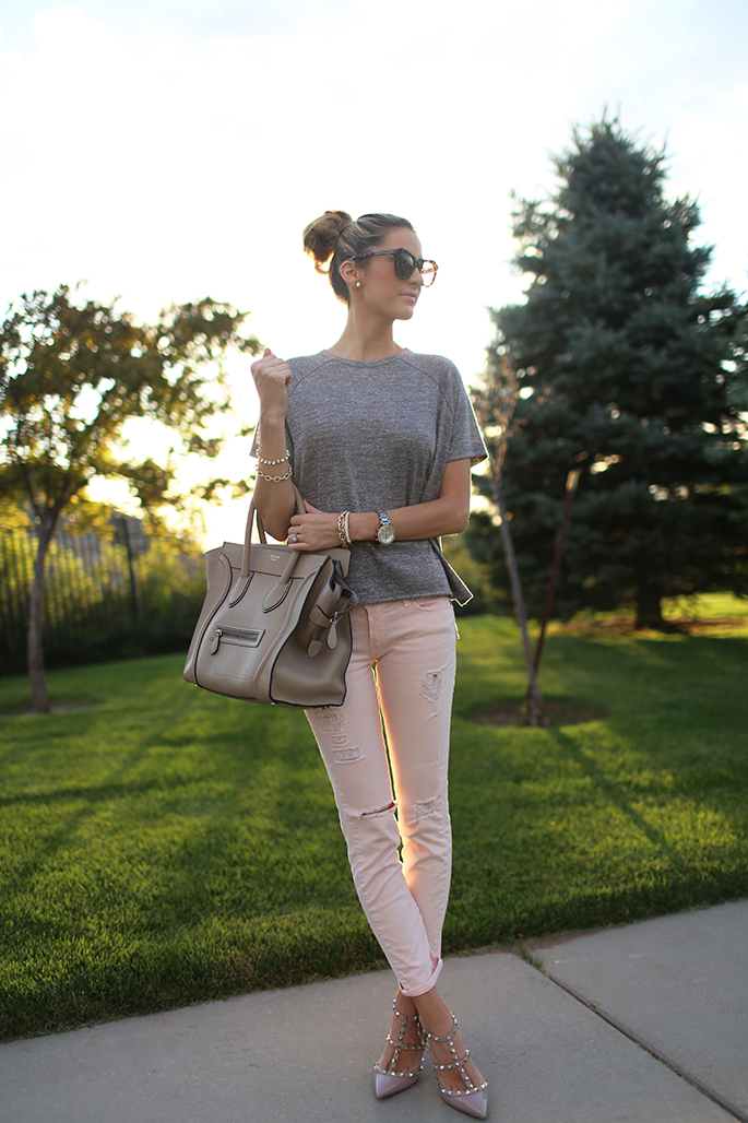 Rag & Bone top, Paige denim pants, Valentino pumps, Celine bag, Michael Kors watch, Karen Walker sunglasses
