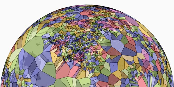 New map created by Jason Davies shows what the world will look like if air marshals ever stage a coup. Davies has created a new map of the world by mashing up airport data and a spherical Voroni diagram that creates new borders by finding the exact midpoint between any two airports. Borders set by treaties, rivers, and mountains are replaced with new lines driven purely by math. The result is a view of the world that looks more like a cellular diagram or mosaic than a map.