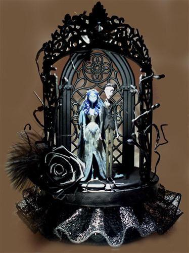 Elegant Gothic Lighted Corpse Bride Wedding Cake Topper | Elegant ...