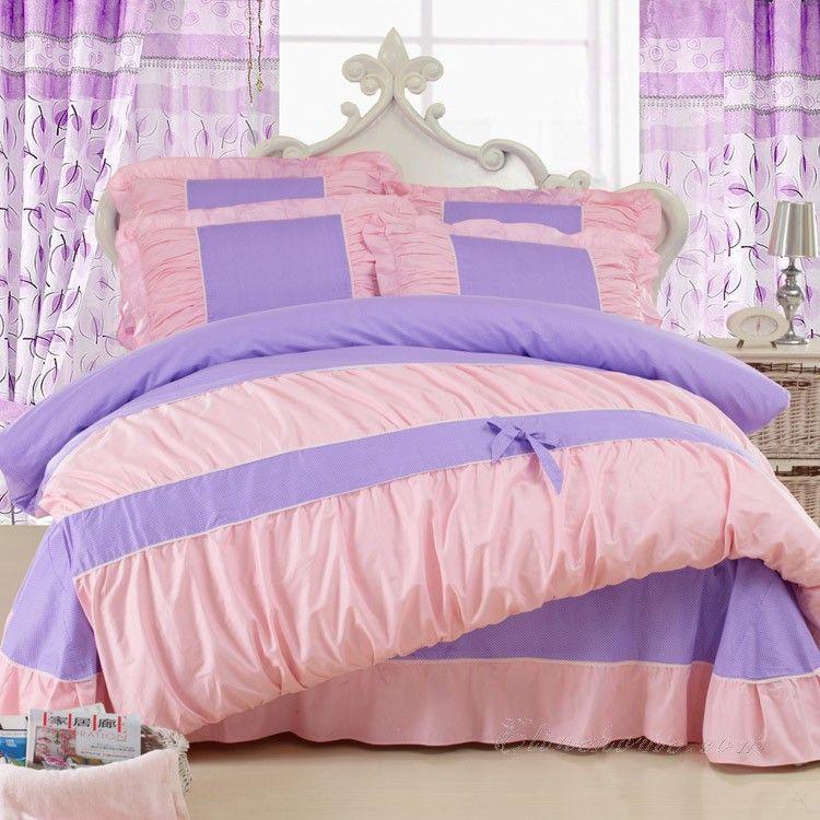 Pink Purple Girls Princess Bowtie Ruffle Lace Bedding Lace