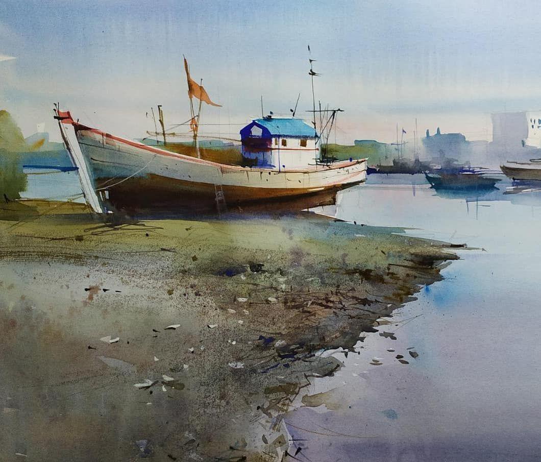 "Milind Mulick on Instagram: ""Boatinthebay.... . #danielsmith #brustro #kdsart_store #creativehandskolkata #watercolorpaper #watercolorartwork #watercolorillustration…"""