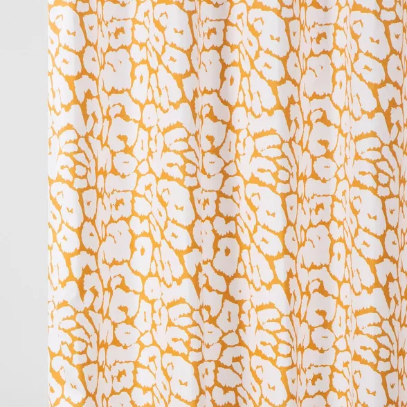 leopard shower curtain yellow white