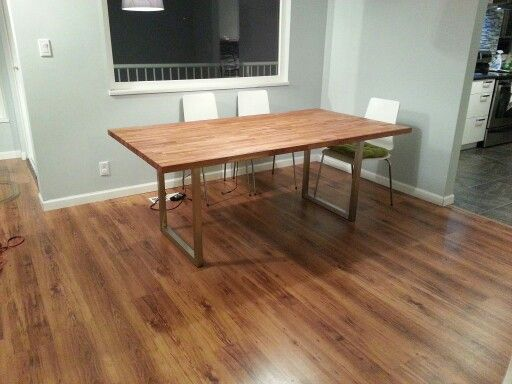 Ikea Butcher Block Worktop And Legs Hacked Into A New Dining Table