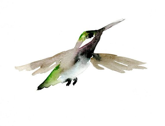 Watercolor painting of a hummingbird. Art Print on A4 or 8 x 10. Sumi e animal painting on Fine Artpaper. ink animal Art.