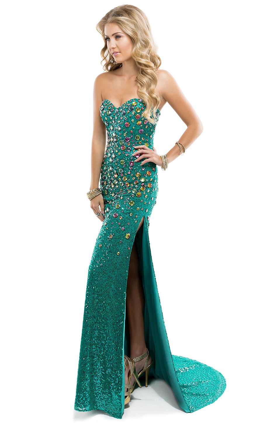 Sparkling Sequin Sheath Dress with Chunky Jeweled Neckline   by ...
