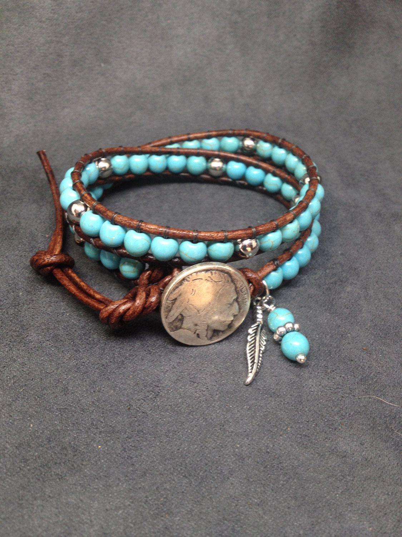 Turquoise Leather Bracelet Southwestern Wrap Womens Beaded Hazel Glass Eye Silver Wire Pendant By Kimsjewels On Etsy Boho Jewelry Mens