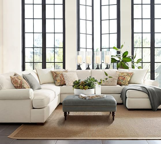 Townsend Roll Arm Upholstered 4 Piece Chaise Sectional Living Room Furniture Layout Rustic Living Room Furniture Living Room Decor