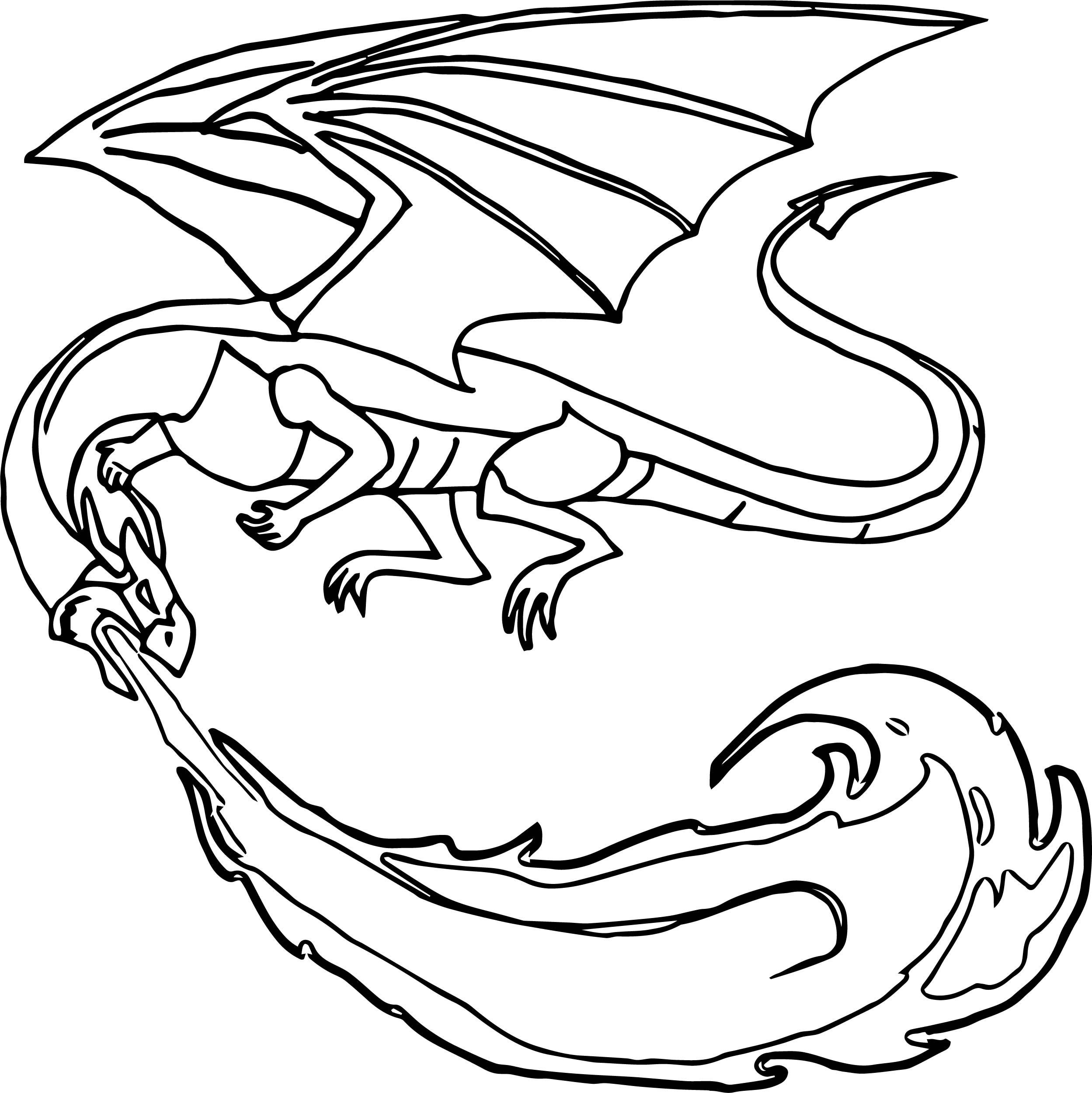 Awesome Dragon Fire Coloring Page Animales