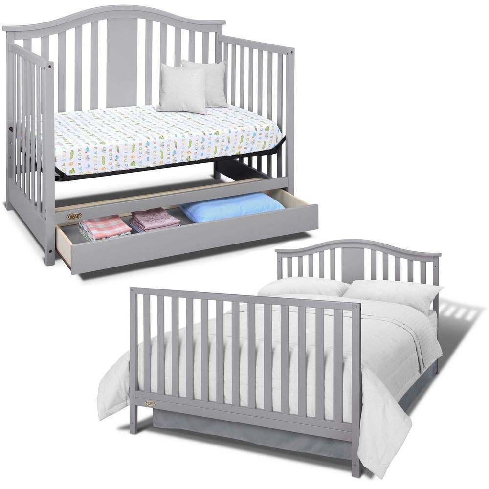 Graco Solano Convertible Crib 4 In 1 Baby U0026Toddler With Drawer Nursery Bed  Gray #Graco #Convertible