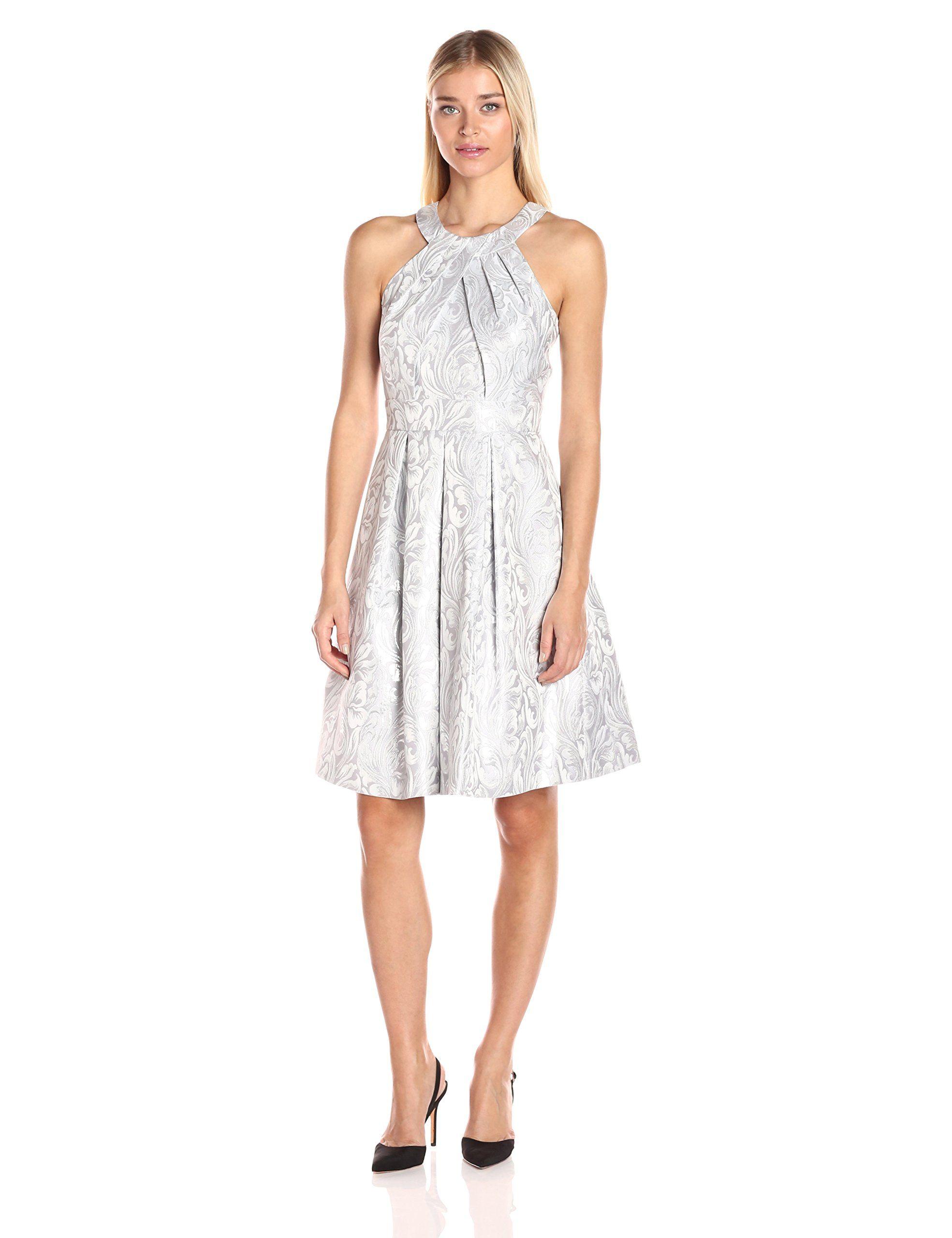 Eliza J Women's Halter Midi-Length Party Dress, Silver, 12. Inseam ...