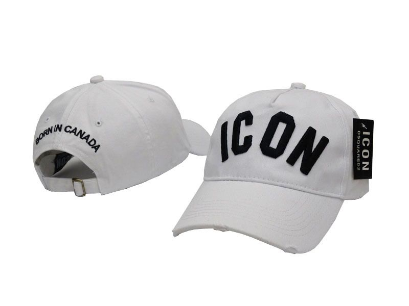 94f46b5e584 Mens   Womens Dsquared2 Icon Logo Embossed Embroidery Strap Back Baseball  Adjustable Cap - White