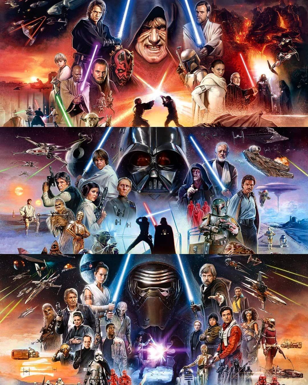 Awesome Looking Star Wars Artwork Bringing All Three Trilogy Storylines Into Play Starwars Starwarsart Star Wars Pictures Star Wars Artwork Star Wars Poster