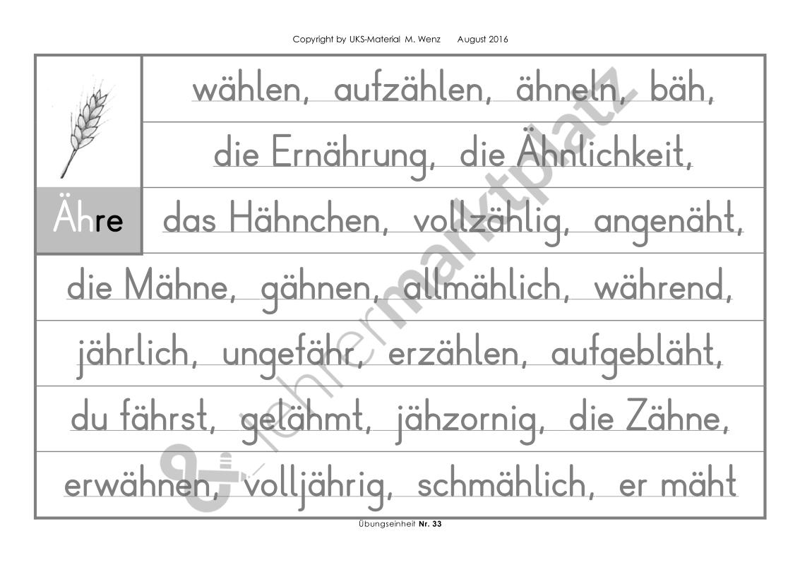 Konzentriertes Wortschatz- und Rechtschreibtraining - 1 bis 70 ...