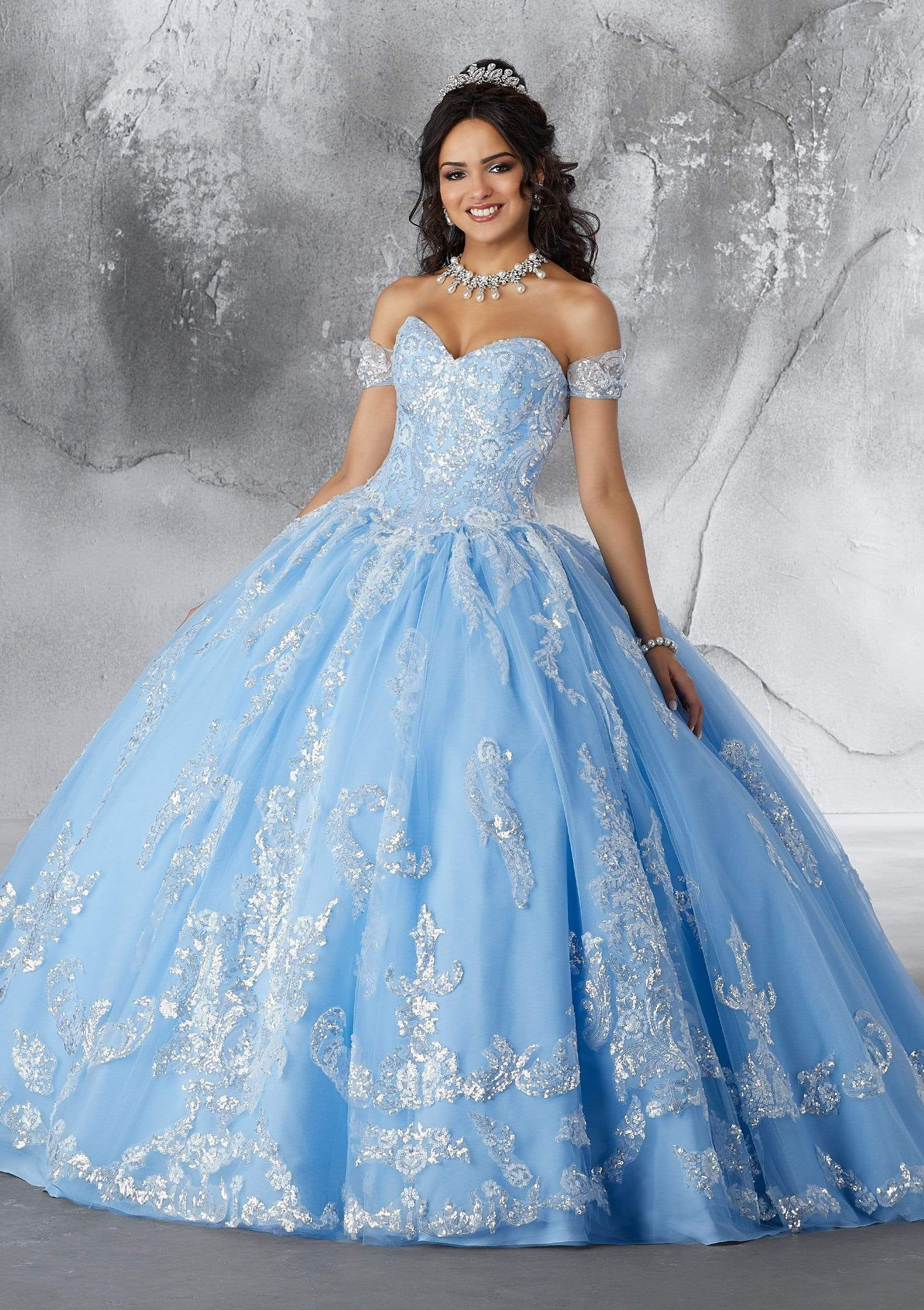 Vizcaya By Mori Lee 89186 Sequined Motif Tulle Ballgown In 2021 Quinceanera Dresses Blue Dresses Quinceanera Blue Quince Dresses [ 2600 x 1834 Pixel ]