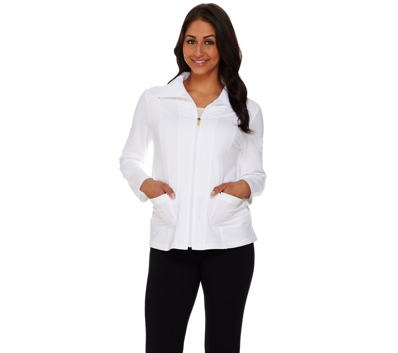 55.42$  Buy now - http://virro.justgood.pw/vig/item.php?t=alw5v912912 - Susan Graver Weekend French Terry Zip Front Jacket Pockets White XL NEW A274435 55.42$