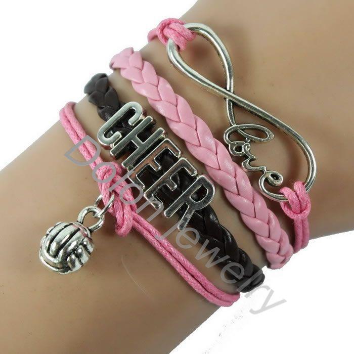 Personalized,Silver volleyball bracelet pendant,Infinity love Leather Bracelet