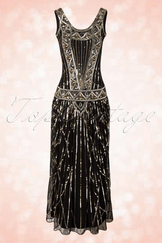 11s Francesca Maxi Dress in Black  1911er kleid, Flapper-kleider