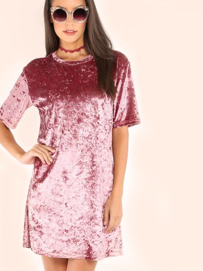81464746b8d5d Vestido de terciopelo con estilo camiseta - rosa