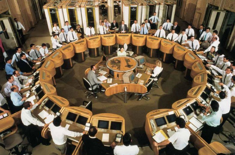 Crazy Looking Trading Ring At The Geneva Stock Exchange In