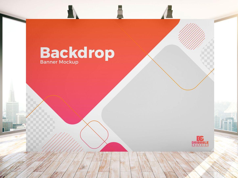 Free Indoor Advertisement Backdrop Banner Mockup Psd Banner Backdrop Banner Design Best Banner Design