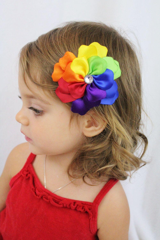 rainbow flower hair clip - rainbow petals - rainbow hair bow