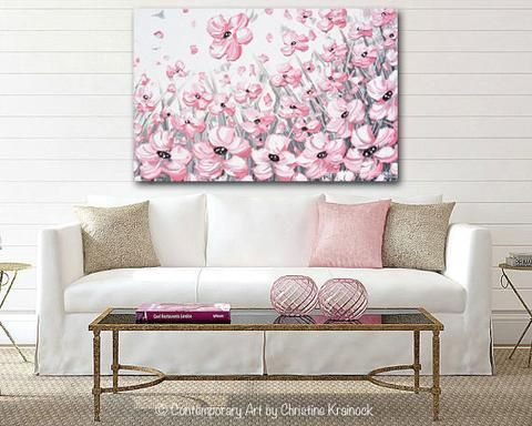 Enchantment Abstract Pink White Flowers Painting Poppy Poppies Floral Fine Art
