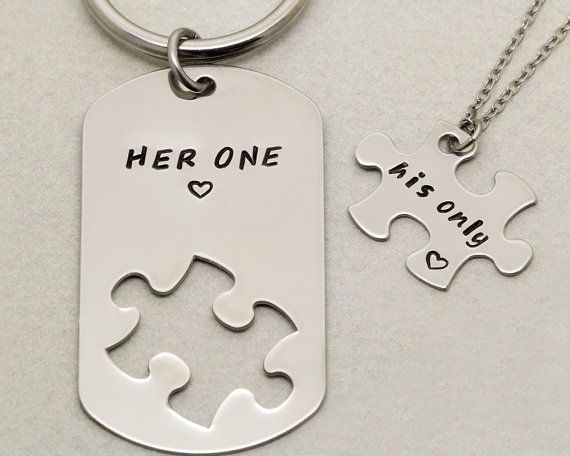 Her One His Only Keychain And Necklace Couples Gift By Twentysix7 Couple Gifts Cute Couple Gifts Girlfriend Gifts