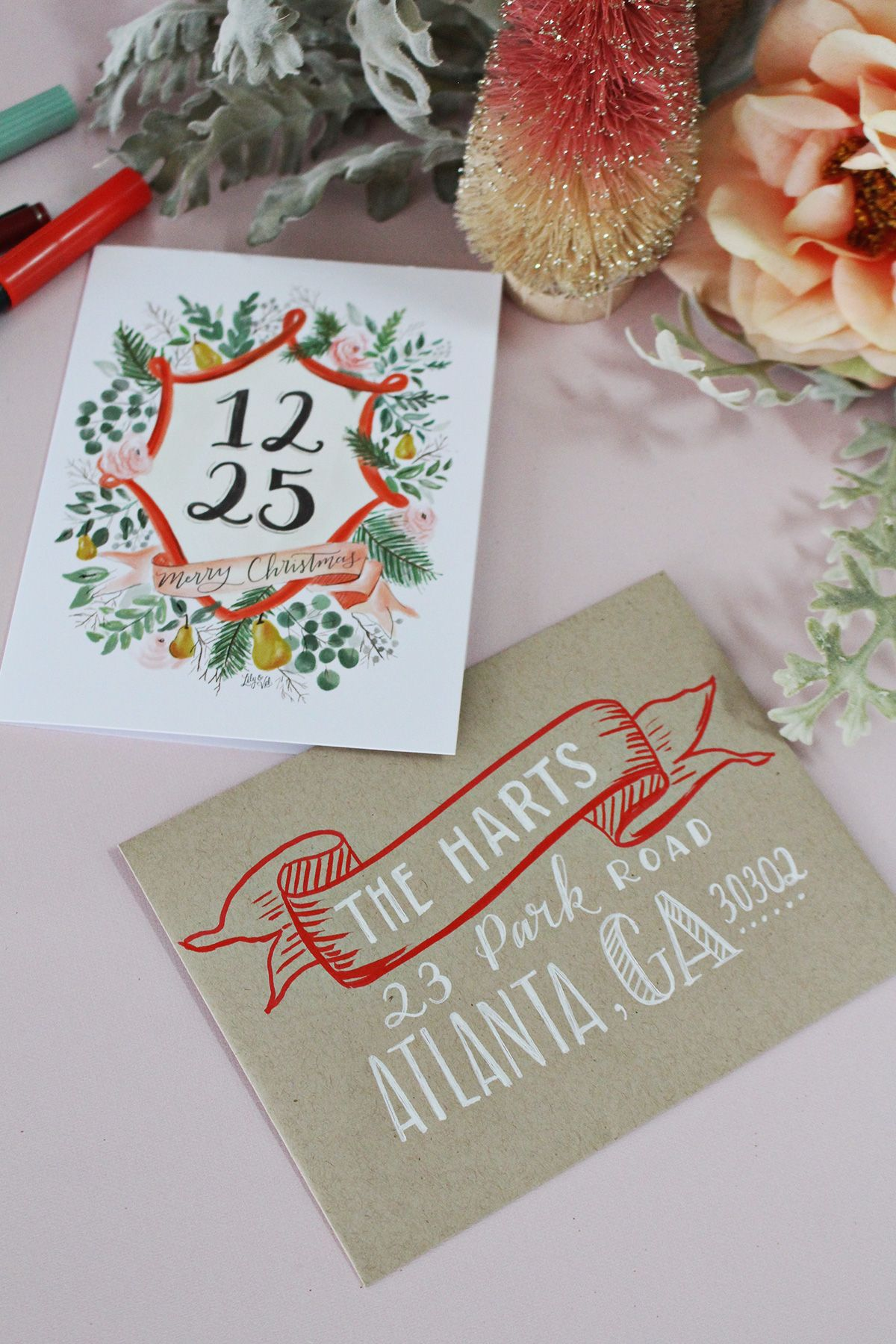 5 holiday card envelope decorating ideas in 2018 hand lettering