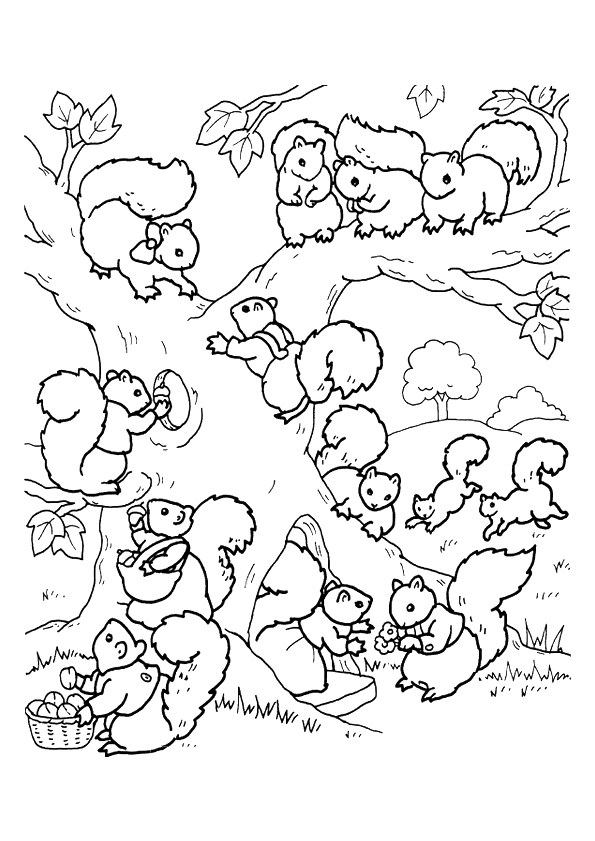 Kleurplaat Eekhoorntjes 7624 Kleurplaten Herfst Tekenen Kleurboek