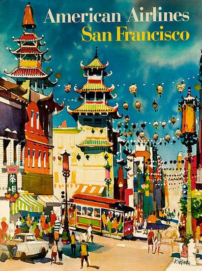American Airlines San Francisco vintage travel poster
