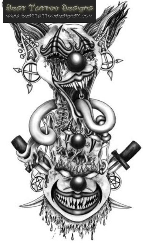 gothic clown tattoo sketch google zoeken psychotic clowns rh pinterest com evil jester tattoo designs Wicked Evil Tattoos