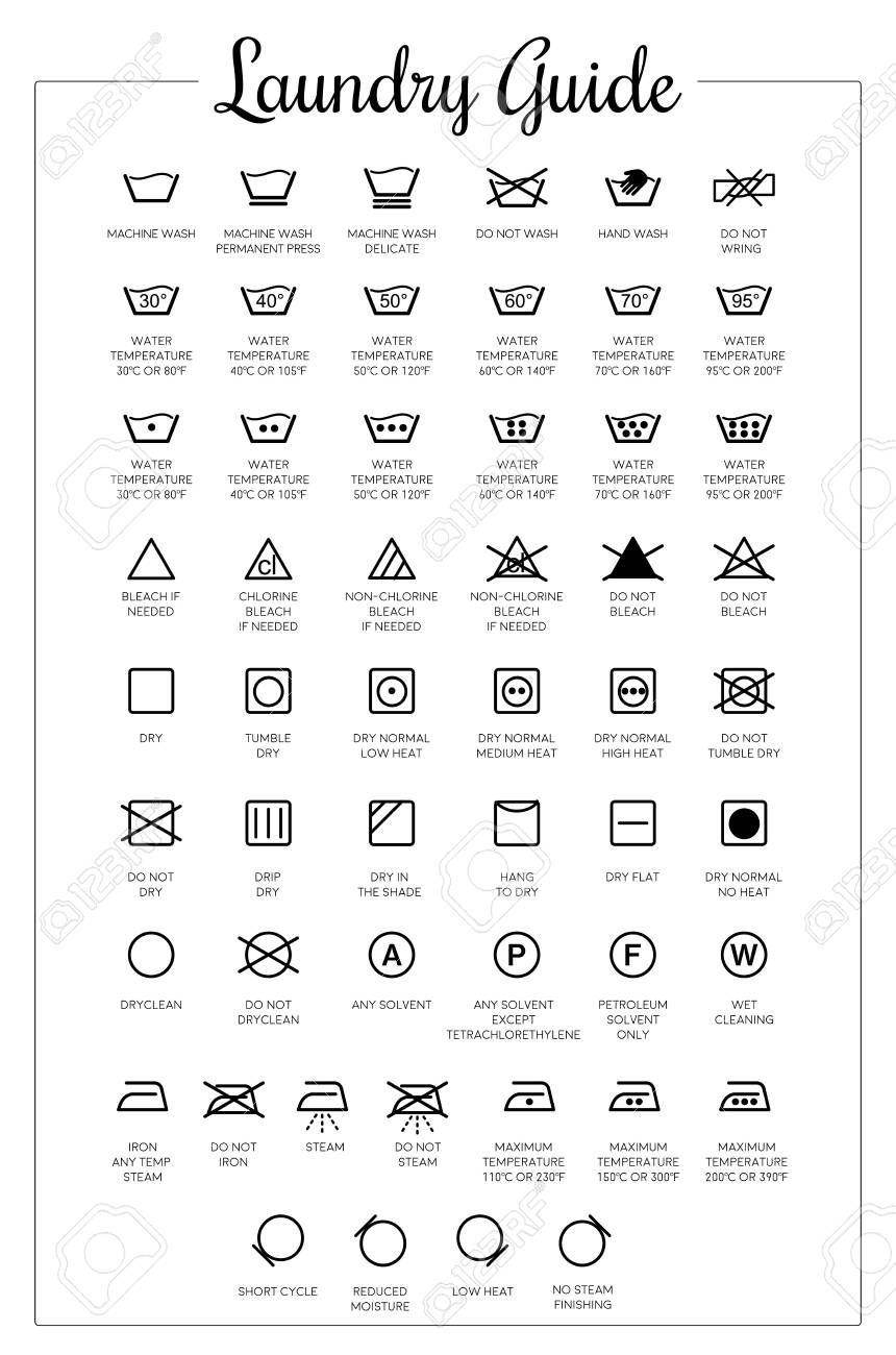 Stock Vector In 2020 Laundry Symbols Printable Laundry Icons Laundry Symbols