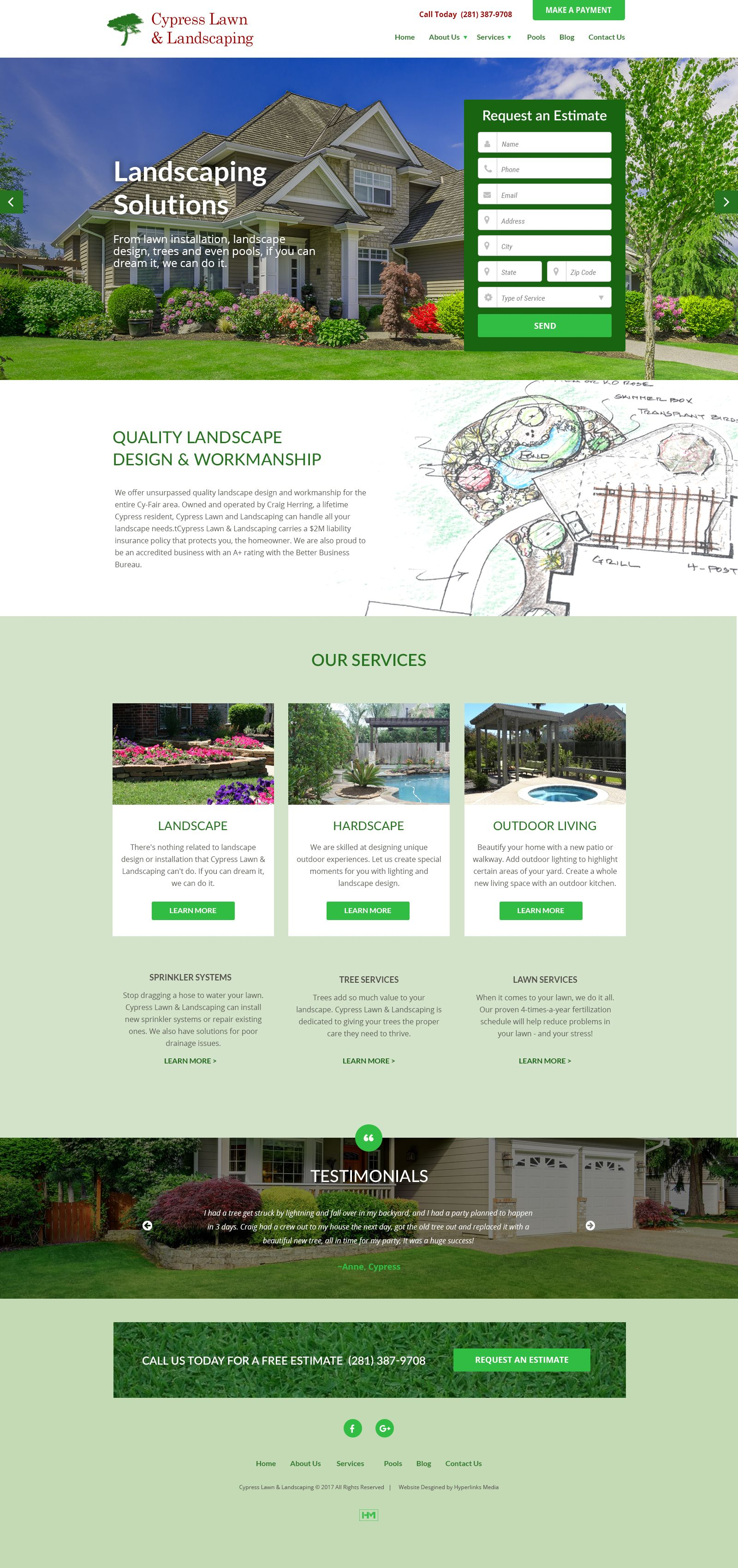 Web Design For Landscaping Company This Landscape Web Design Created And Developed By Hyperlinks Media Featu Landscaping Company Landscape Services Web Design