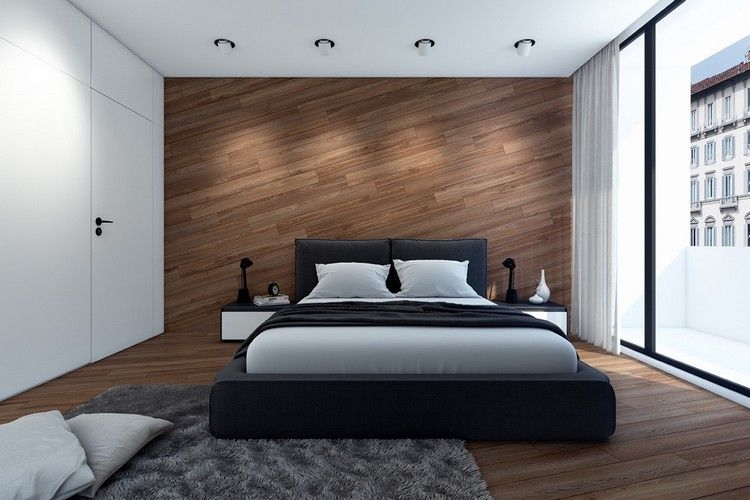 schlafzimmer-design-holz-holzwand-muster-weiße-wände-minimalistisch
