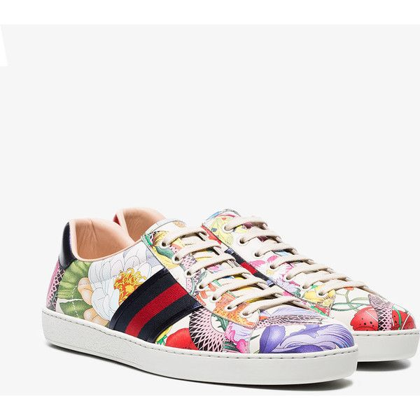 2c959033f Gucci Multi Coloured Ace Floral Print Leather Sneakers ($760) ❤ liked on  Polyvore featuring